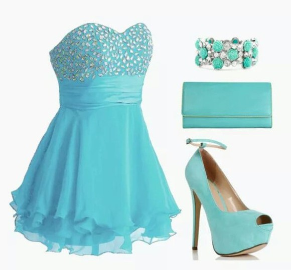 prom dress blue dress dress jewels bag shoes