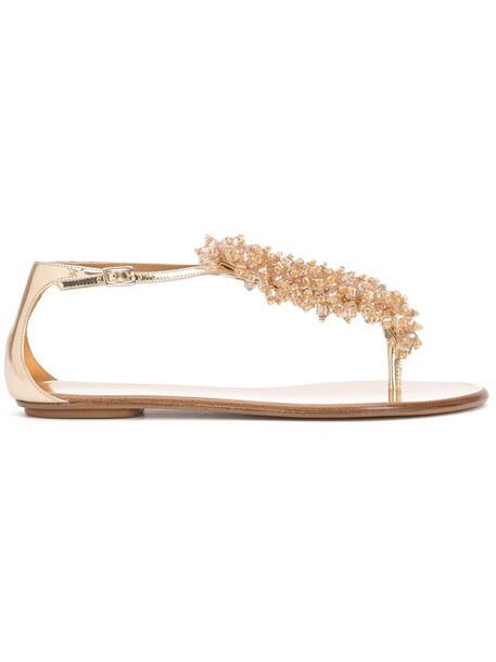 Aquazzura women sandals leather grey metallic shoes