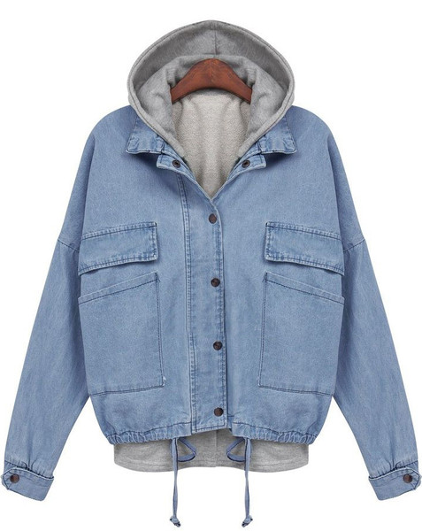 BF Denim Hoodie Bomber Jacket   Outfit Made