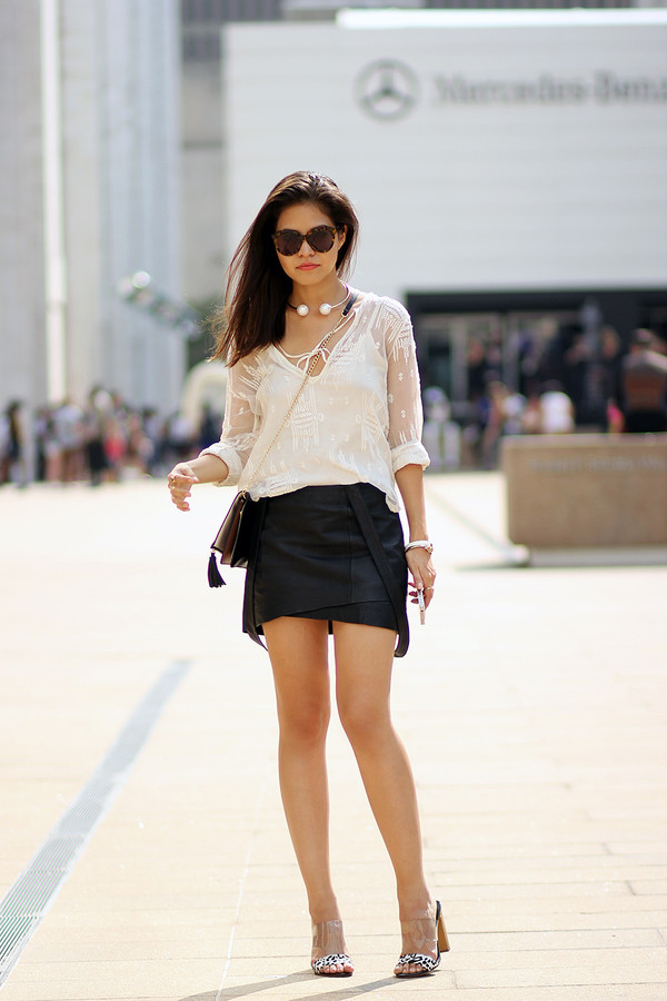 fake leather blogger blouse skirt shoes sunglasses bag jewels