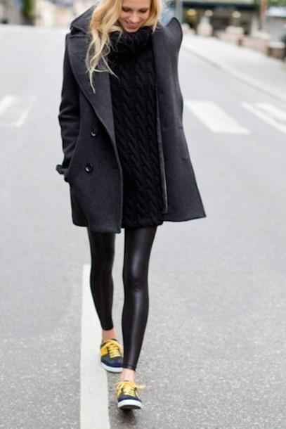 coat leggings sneakers black dress pea coat grey