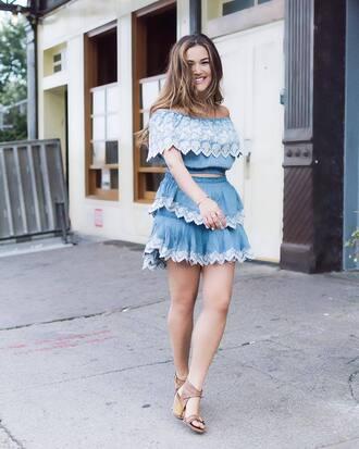 top skirt tumblr blue top crop tops off the shoulder off the shoulder top embroidered embroidered skirt mini skirt blue skirt sandals mid heel sandals