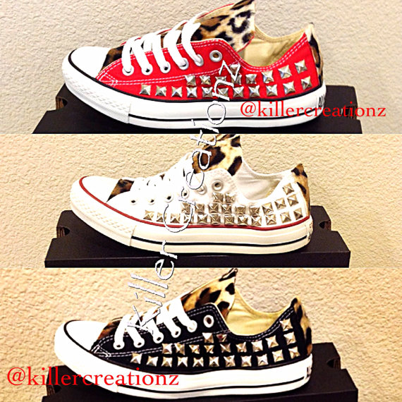 Custom studded Converse Chuck Taylors with faux by KillerCreationz