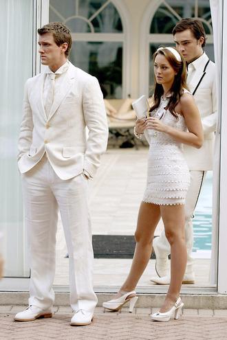dress gossip girl clothes white dresss fashion dress formal leighton meester white dress