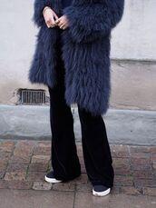 pants,velvet pants,flare velvet pants,tumblr,black pants,flare pants,sneakers,blue sneakers,coat,fur coat,blue coat,velvet,black velvet pants