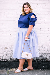 stylishsassy&classy,blogger,top,skirt,shoes,bag,blue top,plus size,gucci bag,slide shoes,summer outfits