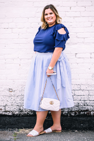 stylishsassy&classy blogger top skirt shoes bag blue top plus size gucci bag slide shoes summer outfits