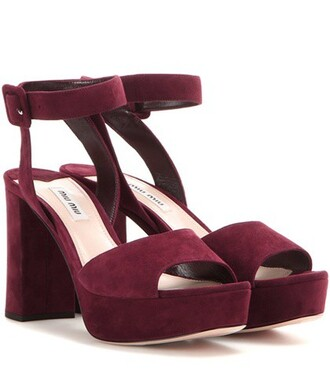 sandals platform sandals suede red shoes
