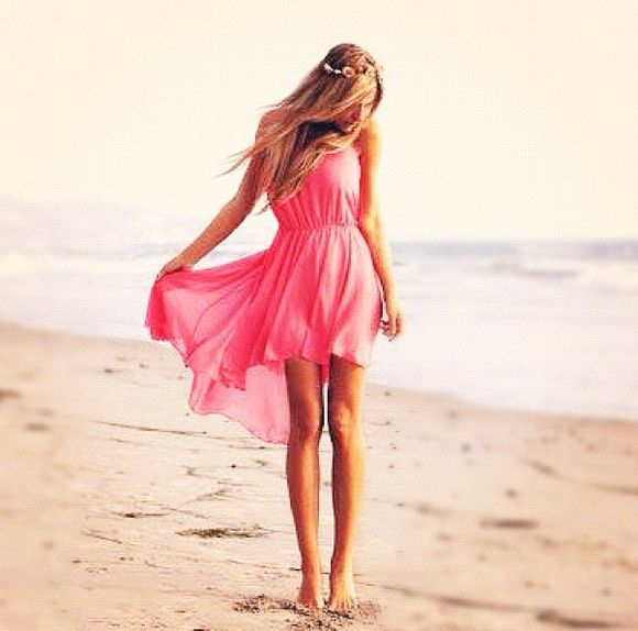 dress rose pink high-low dresses flowy dress hilo dress beach summer coral