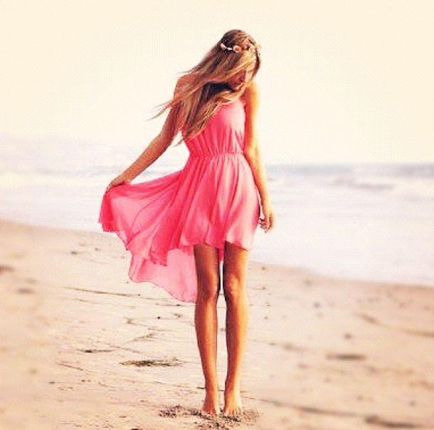 dress, pink, high-low dresses, jewels, jewelry, head jewels, hippie ...