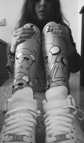 shoes,leggings,adventure time,jake the dog,nike air force,pants
