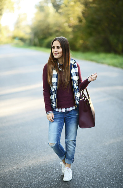 dress corilynn blogger jacket sweater jeans shirt shoes bag jewels quilted  vest burgundy sweater burgundy checkered 183169833