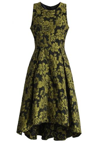 dress golden floral jacquard waterfall dress waterfall dress floral dress jacquard dress chicwish