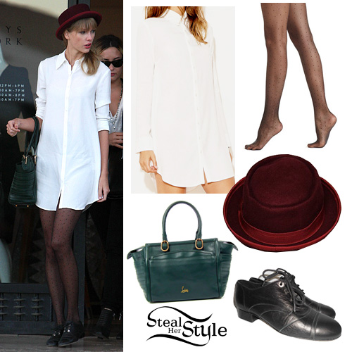 Taylor Swift: White Shirt Dress, Black Oxfords | Steal Her Style