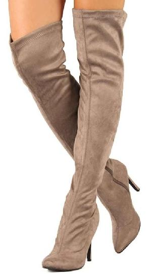 Faux suede thigh high boots