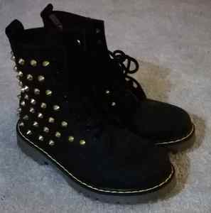 Black Studded Spike Zip Combat Boots/ Womans Military Biker Shoes ...