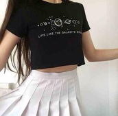 t-shirt,outer space,jewels,skirt,black t-shirt,pleated skirt,white skirt,cropped t-shirt,white,shirt,top,black,grunge,pastel,stars,galaxy print,pastel goth,crop tops,black crop top,crop,black and white,quote on it,soft grunge,pale,grunge t-shirt,arctic monkeys,science,galaxy black,style,cute top,boho chic,tumblr outfit,cute skirt,low rise blue jeand,sexy dress,cool shirts,nice,dress,nice outfit,cute dress,cute sweaters,cute shirt,tumblr shorts,summer top,summer pants,white crop tops,outerspace,lips,cute,black graphic t-shirt,planets,tumblr shirt,tumblr,tank top,space,like,the,galaxys,edgy,alternative,indie,rock,fashion,vintage,retro,outfit,cool,teenagers,summer,spring,fall outfits,winter outfits,tennis,back to school,flare,pleat,pleats,asian,asian fashion,K-pop,grunge shirt,kawaii,kawaii grunge,girly,weheartit,band,cropped,galaxy top,tumblr girl,black top
