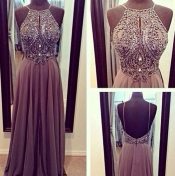 Custom made a line chiffon backless beading, sequin long prom dresses