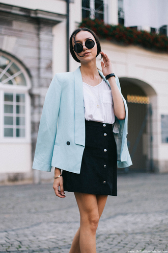 skirt light blue blazer sunglasses white shirt black button up skirt blogger