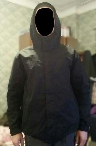 jacket arrows logo arrows logo black wears black jacket clothes