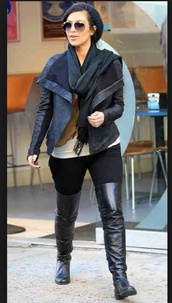 shoes,black boots,thigh high boots,winter boots,kim kardashian,jacket