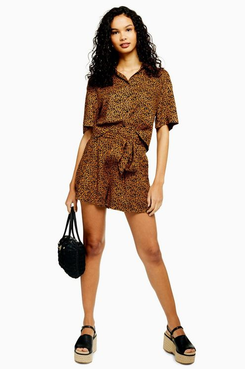 Womens Cairo Brown Leopard Print Tie Shorts - Brown