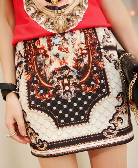 McQeenie Multi-Print Tribal Silk Skirt – Glamzelle