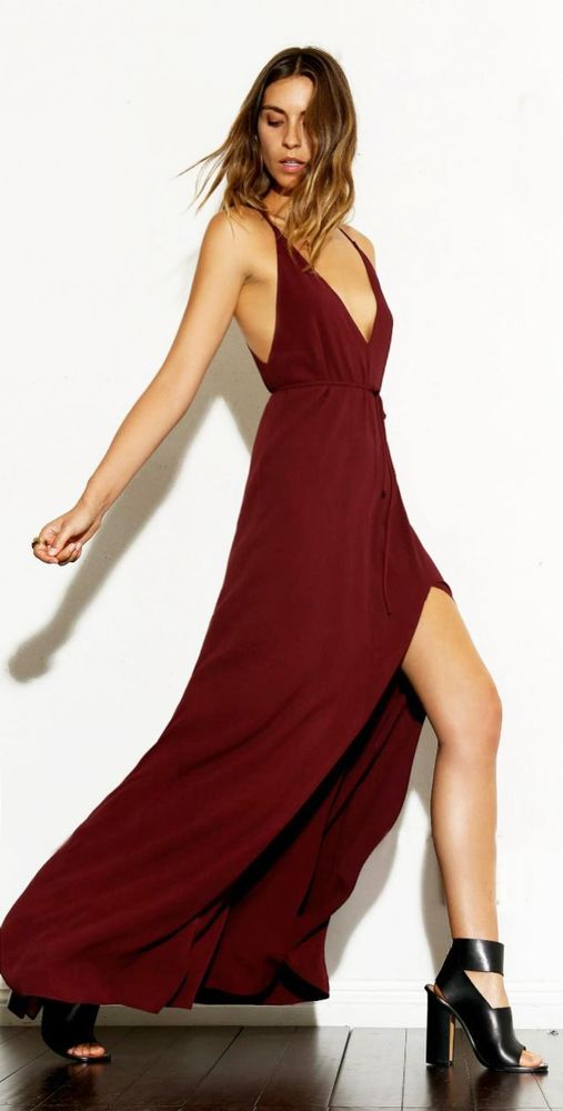 The Reformation Sold Out O s Burgundy Citrine Dress | eBay