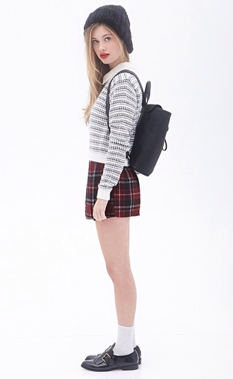 plaid shorts crew socks knitted sweater style sweater knitwear t-shirt shirt blouse white plaid shorts beanie socks ankle socks fashion bag bookbag backpack loafers black loafers shoes flatforms flats forever 21 chic urban clothes top