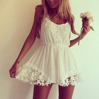 romper white lace floral buttons
