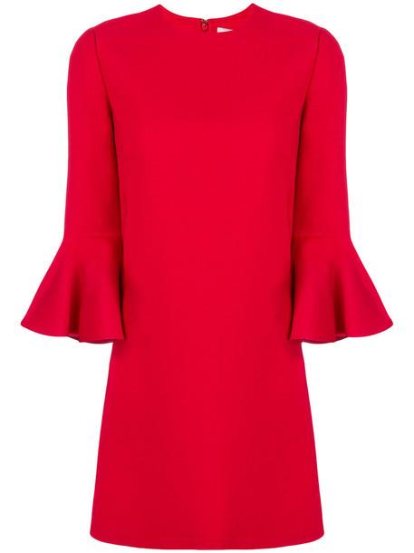 Valentino dress bell sleeve dress women silk wool red