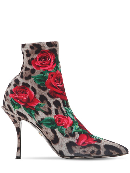DOLCE & GABBANA 90mm Lori Printed Jersey Ankle Boots in pink