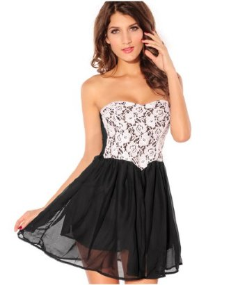 Amazon.com: VIVILLI Newfashioned Lady Lace Tube Clubwear Dress,Black: Clothing