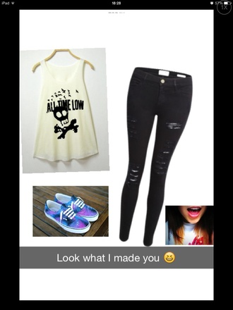 galaxy print vans skull all time low black white music pop punk black ripped jeans galaxy converse emo white tank top