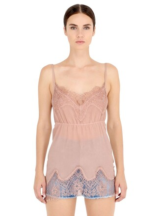 top lace silk pink