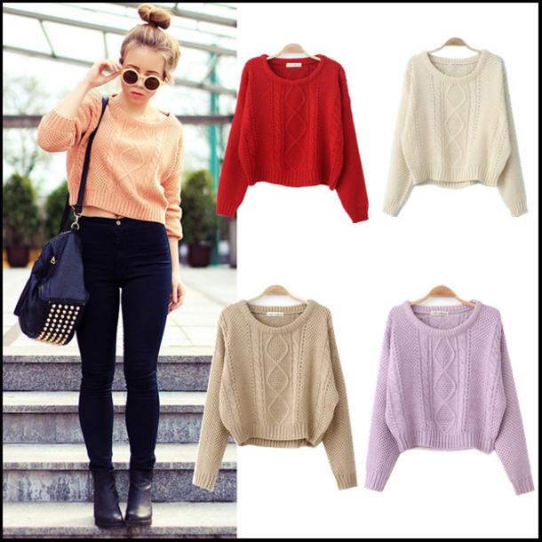 Sweater: cro top, cropped, khloe sweater, beige, short sweater ...
