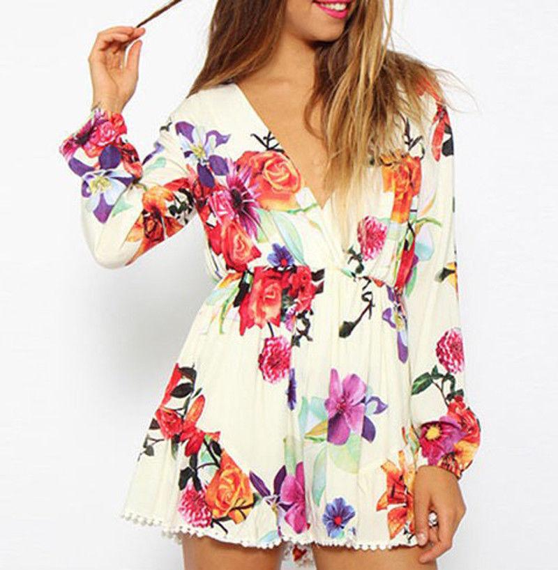Lady Vintage Floral Print Deep V Neck Lace Jumpsuit Romper Playsuit Shorts Pants | eBay