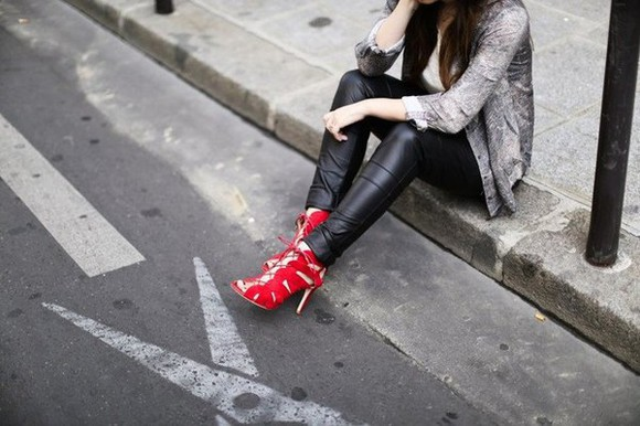 red shoes high heels red heels slim modern
