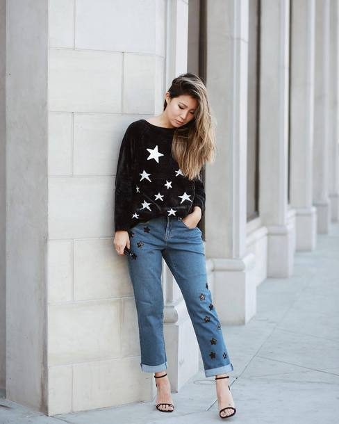 sweater tumblr black sweater stars denim jeans blue jeans cropped jeans sandals sandal heels high heel sandals
