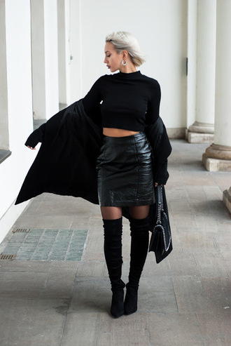 blogger jewels shoes top bag skirt coat leather skirt crop tops thigh high boots shoulder bag black coat winter date night outfit