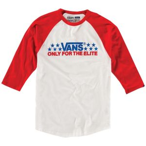Vans Elite Raglan - Men's - Skate - Clothing - White Reinvent/Red