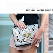 bag,skull,clutch,metal,buckles,silver