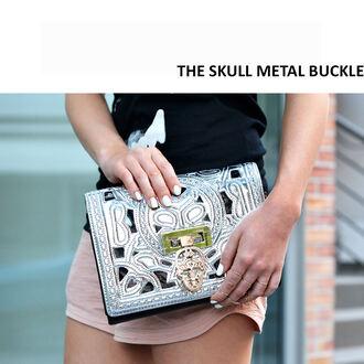 bag skull clutch metal buckle silver