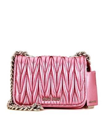 metallic bag shoulder bag leather pink