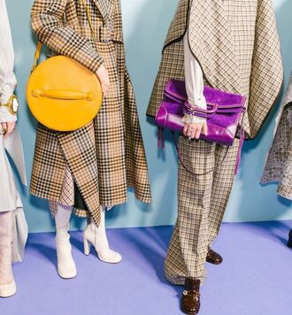 bag mulberry london fashion week 2017 fashion week 2017 purple yellow coat