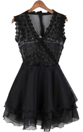 Black V-neck Wrap Sleeveless Lace Gauze Back Flare Dress