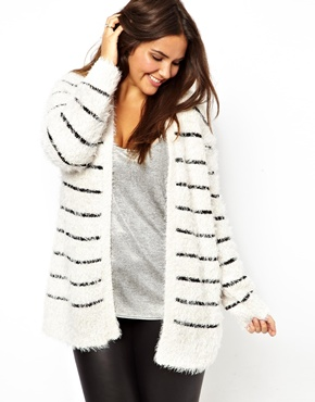 New Look Inspire | New Look Inspire Stripe Fluffy Cardigan at ASOS