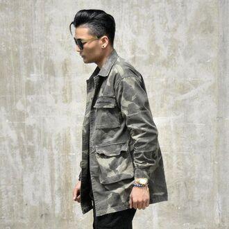jacket maniere de voir camouflage overcoat shirt ripped pockets 36683