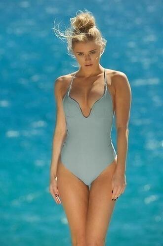 swimwear plunging halter neckline no padding one piece medium coverage cut elizabeth jane halter one piece blue fully lined