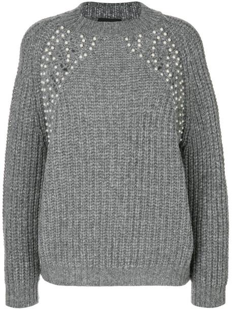 jumper women pearl embellished wool grey sweater